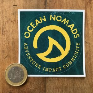 Ocean Nomads sticker - medium blue/yellow
